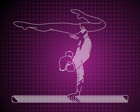 acrobat gymnast: Purple gymnast girl Illustration