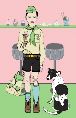 Boy-scout is eating ice cream Illustration