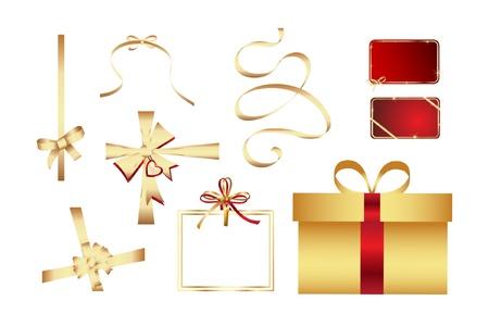 Big set of gold gift bows Illustration