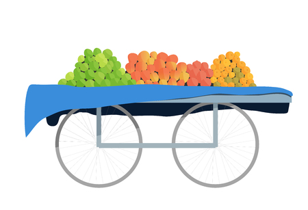 Fruit cart in a bazaar with four different kinds of fruits