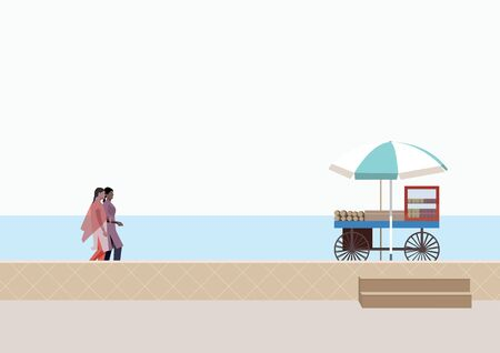 shoreline: Women casually walking and talking together on a beach
