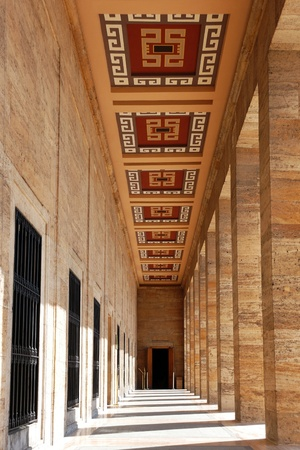 Colonnade at Mausoleum of Ataturk in Ankara, Turkey