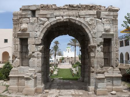 Roman triumphal arch of Marcus Aurelius in Tripoli, Libya. Editorial