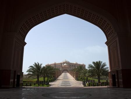 Abu Dhabi, United Arab Emirates - June 22, 2007: View of Abu Dhabi Palace from presidential entrance.
