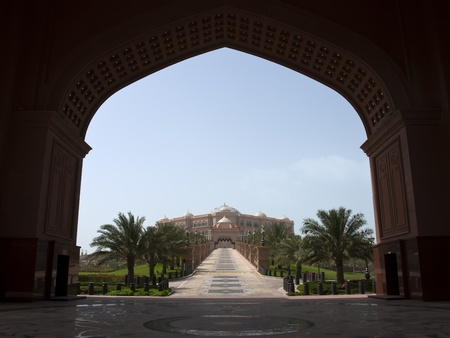 Abu Dhabi, United Arab Emirates - June 22, 2007: View of Abu Dhabi Palace from presidential entrance.