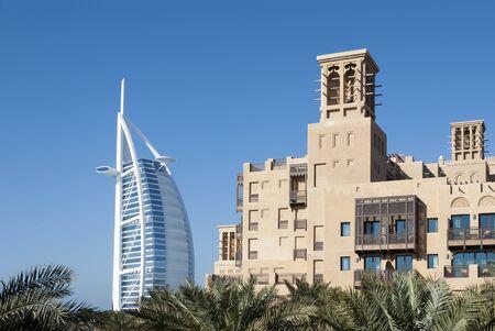 Dubai, UAE - June 18, 2007: View of Burj Al Arab and Mina a