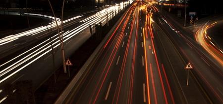 Long exposure of night traffic in Ankara, Turkey  Stock Photo