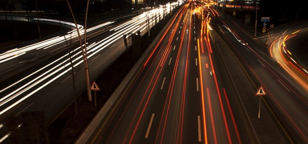 Long exposure of night traffic in Ankara, Turkey  Stock Photo