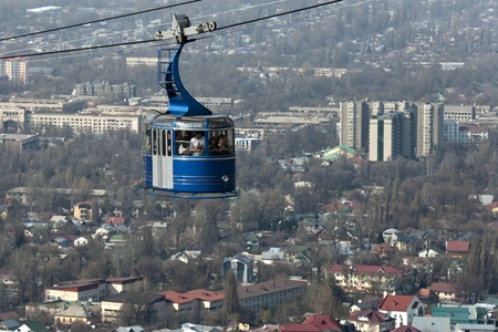 Cable car to Kok Tobe hill in Almaty, Kazakhstan. Stock Photo - 13161195