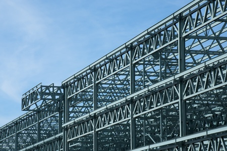 steel blue: Steel construction frame of a convention center building