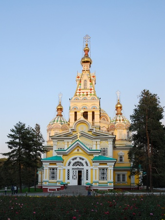 alma: Almaty, Kazakhstan - January 15, 2007: Ascension Cathedral (Zenkov Cathedral) is a Russian Orthodox cathedral located in Panfilov Park. Completed in 1907, it is the second tallest wooden building in the world