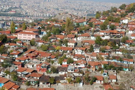 View of old houses at suburbs in Ankara, Turkey. photo
