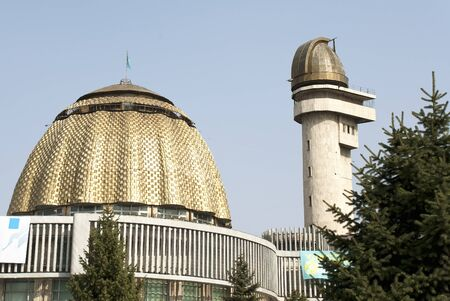 Almaty, Kazakhstan - July 16, 2007: Dome and tower of Republican Palace of School Children building.