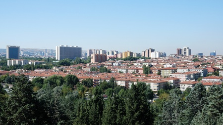 View of Bahcelievler District with some government buildings in Ankara, Turkey. Editorial
