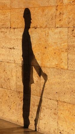 Shadow of soldier guarding Mausoleum of Ataturk in Ankara, Turkey.