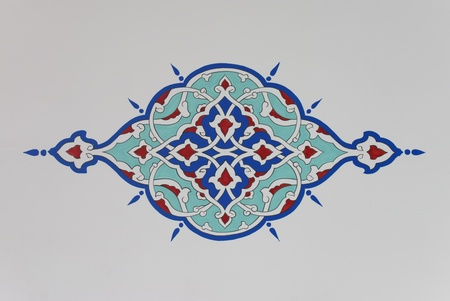 Colorful decorative plant motif from an Ottoman style mosque. Stock Photo