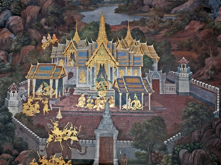 hand painted: BANGKOK, THAILAND - FEB, 20, 2010: Wall Painting from the Wat Phra Kaew - Temple of the Emerald Buddha.