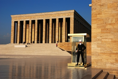 Soldier guarding Mausoleum of Ataturk in Ankara, Turkey.