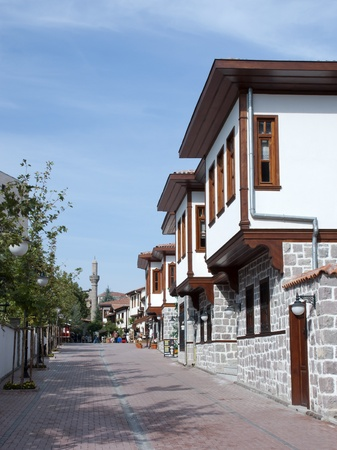 A view of a street with traditional Turkish houses in Ankara, Turkey