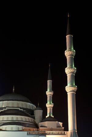 Night view of Kocatepe Mosque, which is a landmark of Ankara, Turkey
