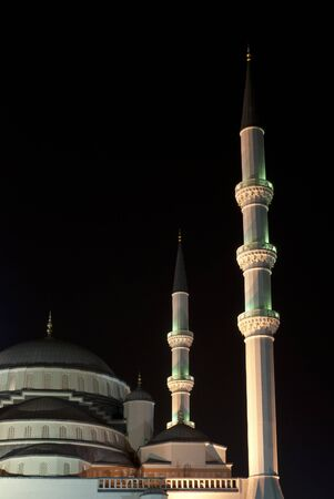 Night view of Kocatepe Mosque, which is a landmark of Ankara, Turkey