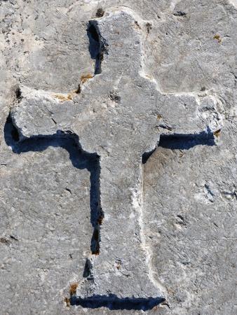 Cross engraved on a stone from Roman Bath Ruins, Ankara, Turkey