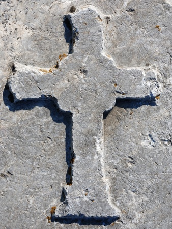 Cross engraved on a stone from Roman Bath Ruins, Ankara, Turkey