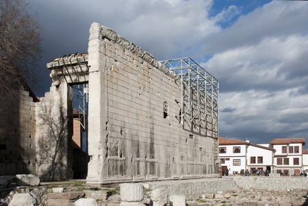 Augustus Temple from 20 BC -50 BC with neighboring Hacibayram Mosque in Ankara, Turkey.