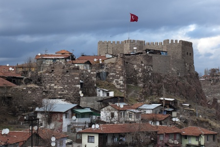 A view of the Ankara Castle and nearby houses in Turkey.