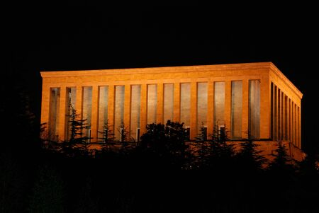 Night view of Mausoleum of Ataturk in Ankara, Turkey