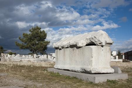 Ancient tomb at Roman Bath ruins in Ankara, Turkey