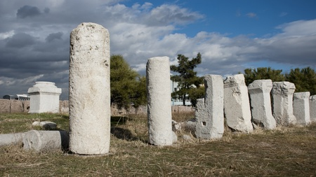 Ancient columns at Roman Bath ruins in Ankara, Turkey.