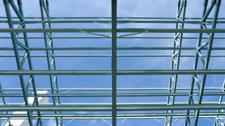 Steel construction frame of a convention center building. photo