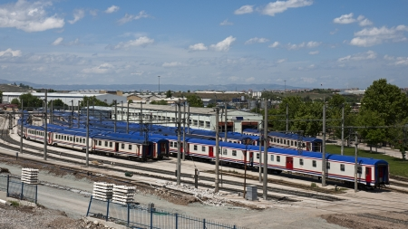 Train wagons parked in rows at Ankara, Turkey. Stock Photo