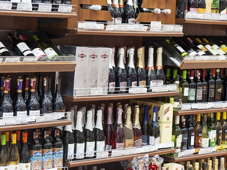 Astana, Kazakhstan - August 23, 2012: Alcoholic beverages at supermarket.