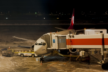 Ankara, Turkey - February 02, 2012: Turkish Airline plane before flight at Esenboga Airport. Editorial