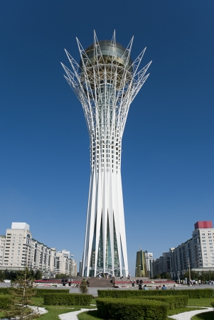 Bayterek is a monument and observation tower in Astana, Kazakhstan. The shape of Bayterek represents a poplar tree holding a golden egg.