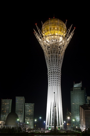Bayterek is a monument and observation tower in Astana, Kazakhstan  The shape of Bayterek represents a poplar tree holding a golden egg  Stock Photo