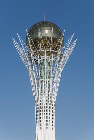 Bayterek is a monument and observation tower in Astana, Kazakhstan. The shape of Bayterek represents a poplar tree holding a golden egg.