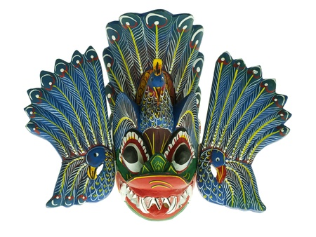 daemon: Traditional Sri Lankan mask Maura Raksha isolated on white. Stock Photo