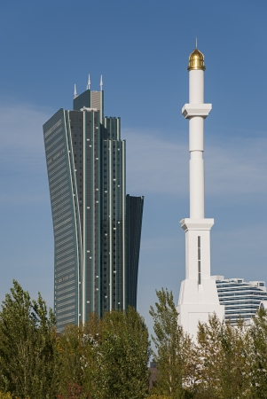 Skyscraper vs  Minaret -  a Modern city view from Astana, Kazakhstan  Editorial