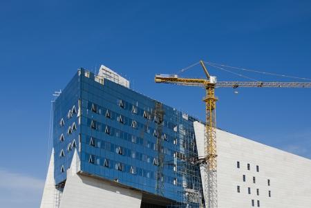 A modern building under construction in Astana, Kazakhstan. Stock Photo