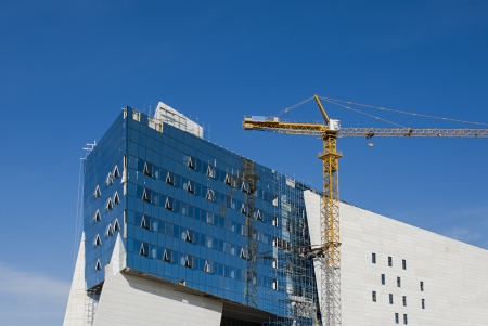A modern building under construction in Astana, Kazakhstan. Stock Photo