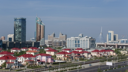 astana: Cityscape of Astana, the capital of Kazakhstan, with modern skyscrapers.