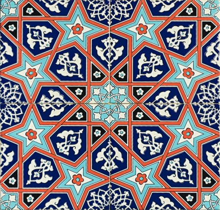Photo of a set of seamless traditional Turkish tile. photo