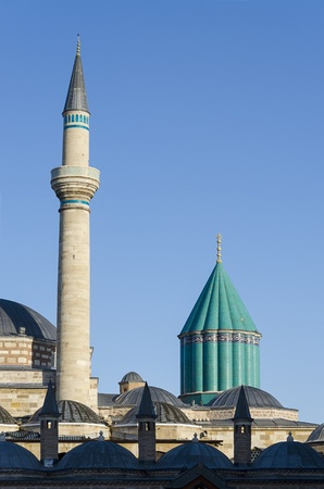Mausoleum of Mevlana Celaleddin (Jalal Al Din) Rumi in Konya, Turkey. Stock Photo
