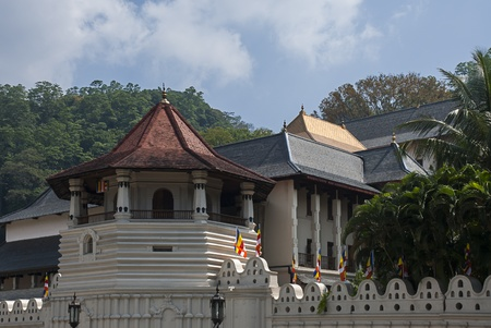 Patthirippua (Octagon) at Sacred Tooth Relic Temple (Sri Dalada Maligawa) in Kandy, Sri Lanka. This temple is a UNESCO World Heritage Site.