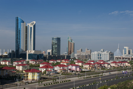 Cityscape of Astana, the capital of Kazakhstan, with modern skyscrapers.