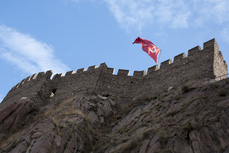 A low angle view of the Ankara Castle in Turkey.