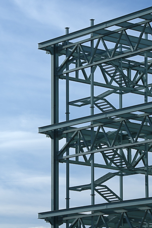 Steel construction frame of a convention center building.